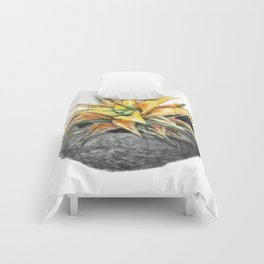 Yellow Succulent with Stone Planter Comforters