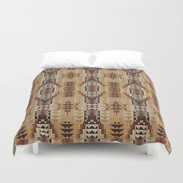 Orange Khaki Dark Caramel Coffee Brown Rustic Native American Indian Mosaic Pattern Duvet Cover