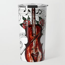 Brown Violin with Notes Travel Mug