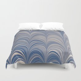 Marbled Blue and Gold Fountain Duvet Cover
