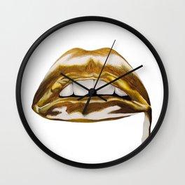 Golden Lips Wall Clock