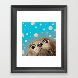 """Fun Kitty and Polka dots"" Framed Art Print"