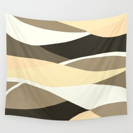 Beige Brown and Taupe Abstract Wall Tapestry