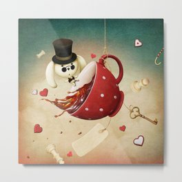 fantasy with red cup of tea and rabbit Metal Print