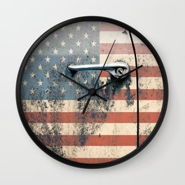 Door old car and falg USA America Wall Clock