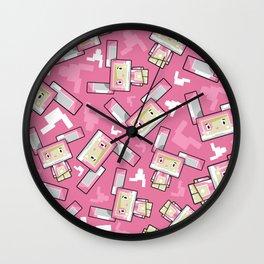 Cute Cartoon Blockimals Bunny Rabbit Wall Clock