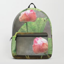 Asiatic Flowers in Pale Pink Backpack