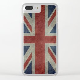 UK Flag, Dark grunge 3:5 scale Clear iPhone Case