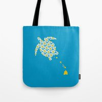 hawaii Tote Bags featuring Hawaii by Erik Sandi Satresa