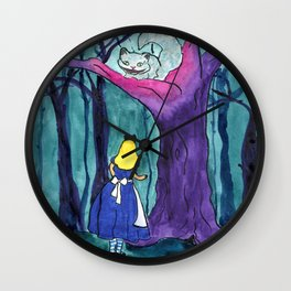 Alice Meets the Cheshire Cat Wall Clock