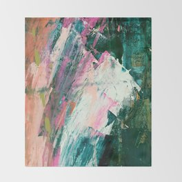 Meditate [2]: a vibrant, colorful abstract piece in bright green, teal, pink, orange, and white Throw Blanket