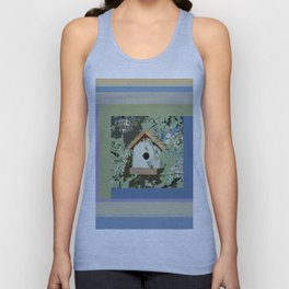 Birdhouse in barnwood, blue sage green taupe Unisex Tank Top