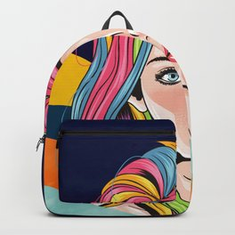 Look of innocence, Beautiful girl face with blue eyes and full color unicorn rainbow hair Backpack