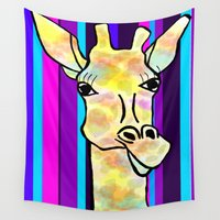 striped Wall Tapestries featuring Striped Giraffe by Tiffany Saffle
