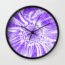 White Flower On Purple Crayon Wall Clock
