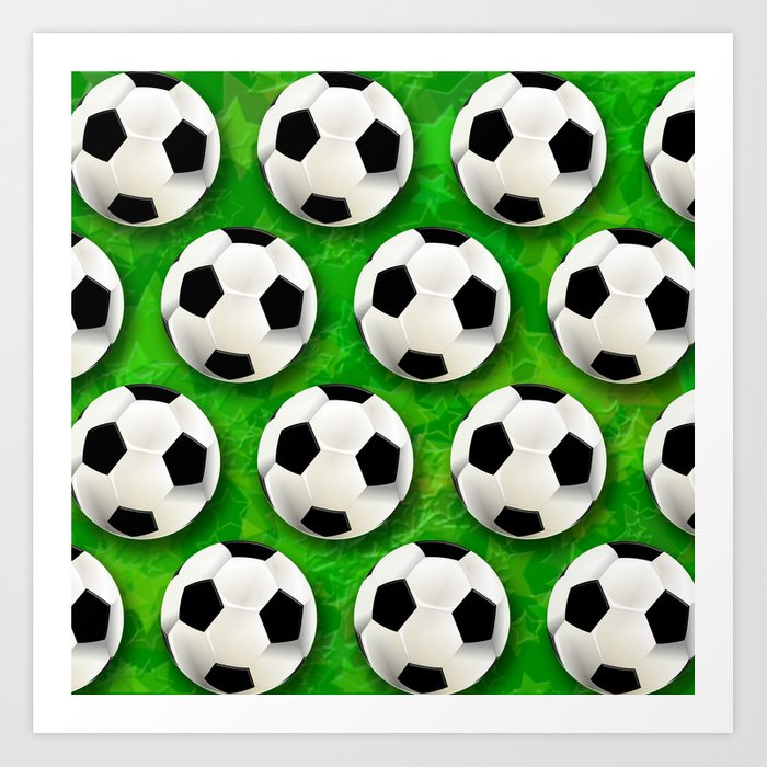 Soccer Ball Football Pattern Art Print By Bluedarkatlem