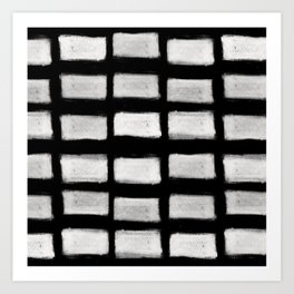 Brush Strokes Horizontal Lines Off White on Black Art Print