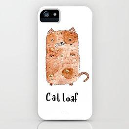Illustration, Cat loaf, cat art, animal art, food art, watercolor illustration, handlettering iPhone Case