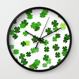 Shamrocks Falling - Pattern for Saint Patricks Day Wall Clock