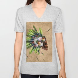 Awesome skull with feathers Unisex V-Neck