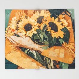 Holding Sunflowers #society6 #illustration #nature #painting Throw Blanket