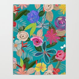 Vivid Colorful Botanical Flowers Pattern Poster