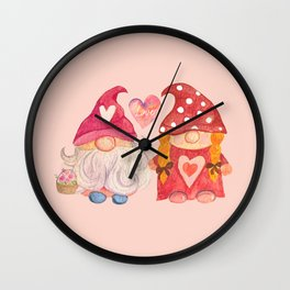 Valentine's Day with Gnome couple Wall Clock