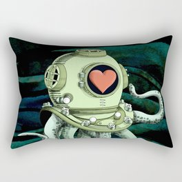 octopus diver in love Rectangular Pillow