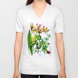 Vintage Wildflowers Tiger-Lily and Honeysuckle Unisex V-Neck