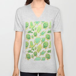 Green and gold australian native floral print Unisex V-Neck