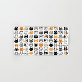 Cute Cats | Assorted Kitty Cat Faces | Fun Feline Drawings Hand & Bath Towel