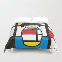 mondrian Duvet Covers featuring Kokeshi Mondrian by Pendientera