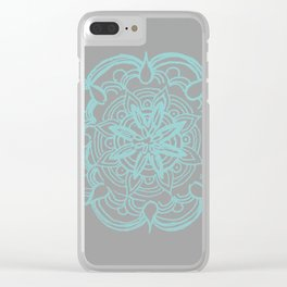 Mint Gray Romantic Flower Mandala #4 #drawing #decor #art #society6 Clear iPhone Case