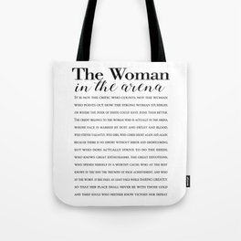 Daring Greatly Quote, Woman in the Arena - Inspirational Gift for Woman Entrepreneur Tote Bag