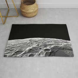The Moon, Space galaxy, gray and black colors Rug