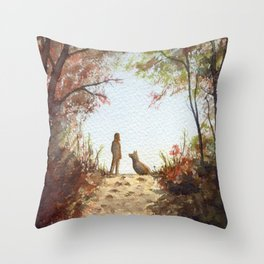 A Walk in the Autumn Woods Throw Pillow