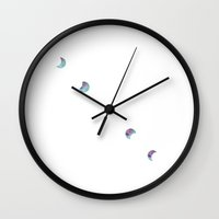 moon phase Wall Clocks featuring Phase It by Blanc Fiore