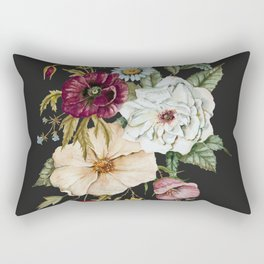 Colorful Wildflower Bouquet on Charcoal Black Rectangular Pillow