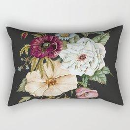 Colorful Wildflower Bouquet on Charcoal Black Rechteckiges Kissen