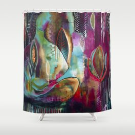 """Held and Healed"" Original Painting by Flora Bowley Shower Curtain"