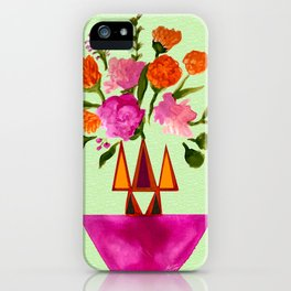 Watercolor Flowers with Geometric Accents Home Goods Design iPhone Case