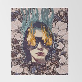 The Girl on Fire Throw Blanket