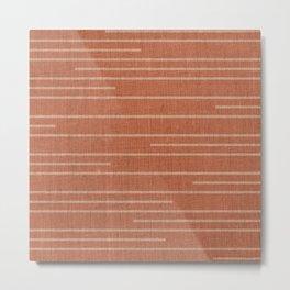 Geometric Art, Colorful Stripes Mudcloth, Terracotta Metal Print