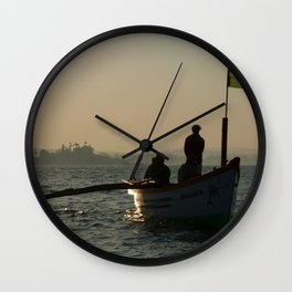 Dolphin Boat with Indian Flag Palolem Wall Clock