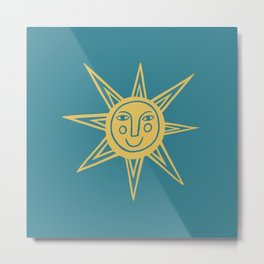 Cheerful Happy Sunshine Numero 1 Teal Metal Print