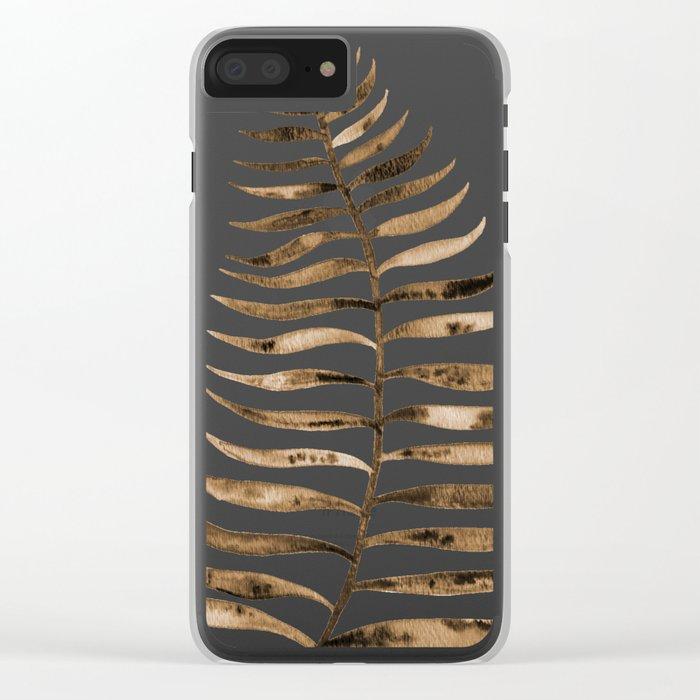 Palm Leaf – Sepia Clear iPhone Case