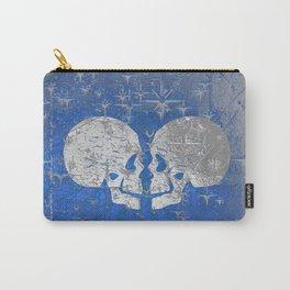 Silver Metallic till Death do us Part Love Skulls Carry-All Pouch
