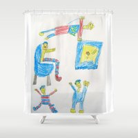 workout Shower Curtains featuring Dad's Workout Time by Dozer and Beans
