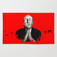 hitchcock Area & Throw Rugs featuring Alfred Hitchcock by Ilustrismo