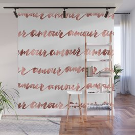 Amour French Love Script Rose Gold Typography Pattern Wall Mural